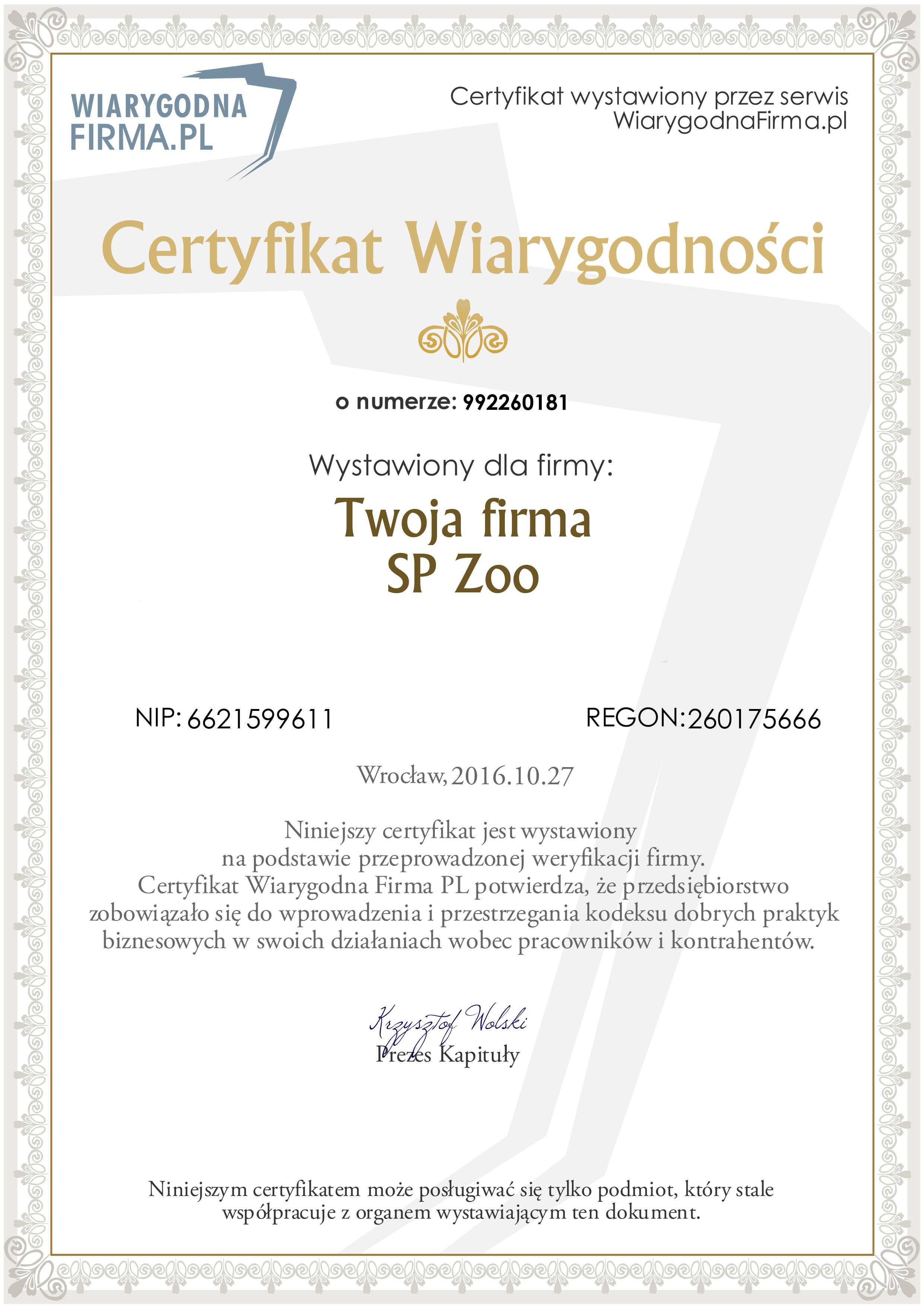 Certyfikat wiarygodna firma pl