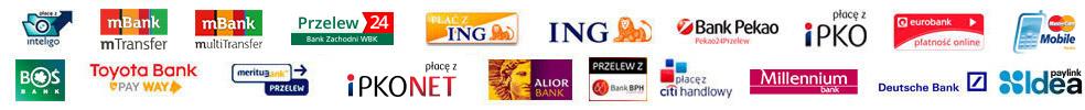 Baner informacyjny z listą obsługiwanych banków Polskich